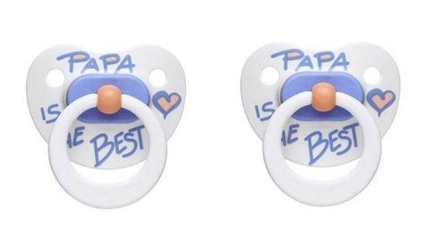 Zklidňující šidítko 2 ks, nápis Papa is the Best! Bibi - Švýcarsko